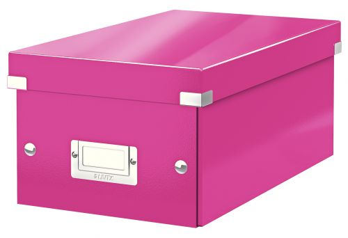 Leitz WOW Click & Store DVD Storage Box. With label holder. Pink.