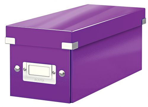 Leitz WOW Click & Store CD Storage Box. With label holder. Purple.