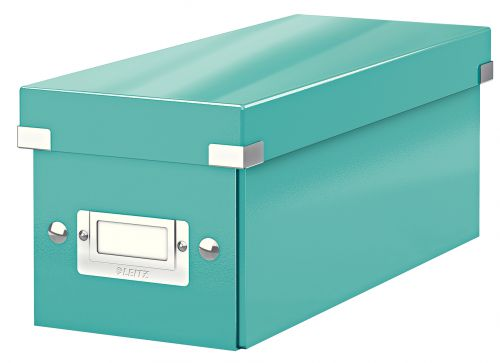 Leitz WOW Click & Store CD Storage Box. With label holder. Ice Blue.