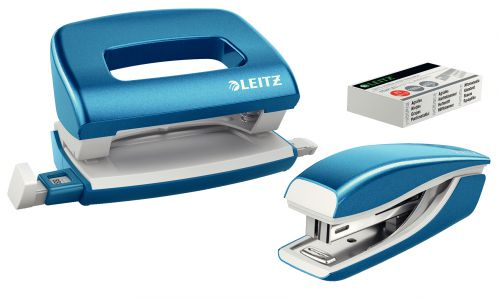 Leitz NeXXt WOW Mini Stapler and Hole Punch Set. 10 sheets. Handy mini version. Includes staples, in blister pack. Blue