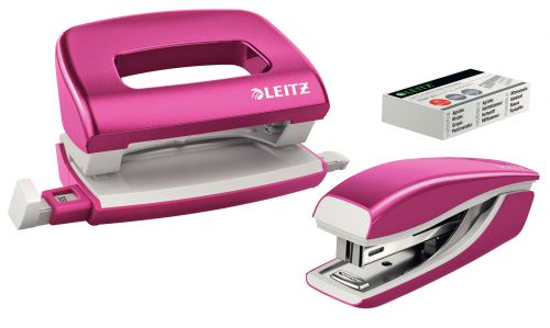 Leitz NeXXt WOW Mini Stapler and Hole Punch Set. 10 sheets. Handy mini version. Includes staples, in blister pack. Pink