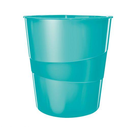 Leitz WOW Waste Bin 15 litre Ice Blue
