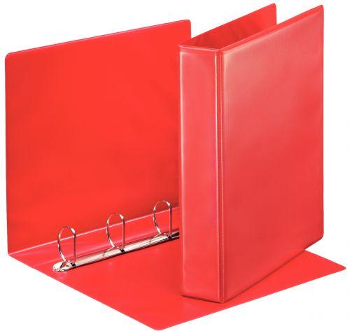 Esselte Essentials Presentation Ring Binder Polypropylene 4 D-Ring A4 40mm Rings Red (Pack 10) 49761