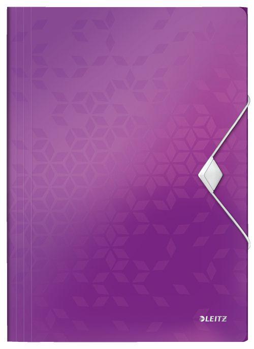 Leitz WOW 3 Flap Folder A4 Polypropylene 150 Sheet Capacity Purple - Outer carton of 10