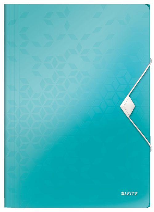 Leitz WOW 3 Flap Folder A4 Polypropylene 150 Sheet Capacity Ice Blue - Outer carton of 10