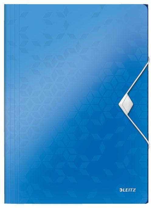 Leitz WOW 3 Flap Folder A4 Polypropylene 150 Sheet Capacity Blue Metallic - Outer carton of 10