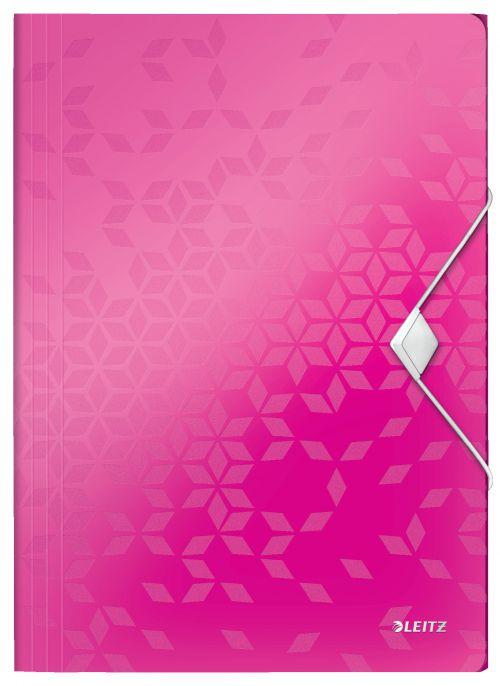 Leitz WOW 3 Flap Folder A4 Polypropylene 150 Sheet Capacity Pink Metallic - Outer carton of 10