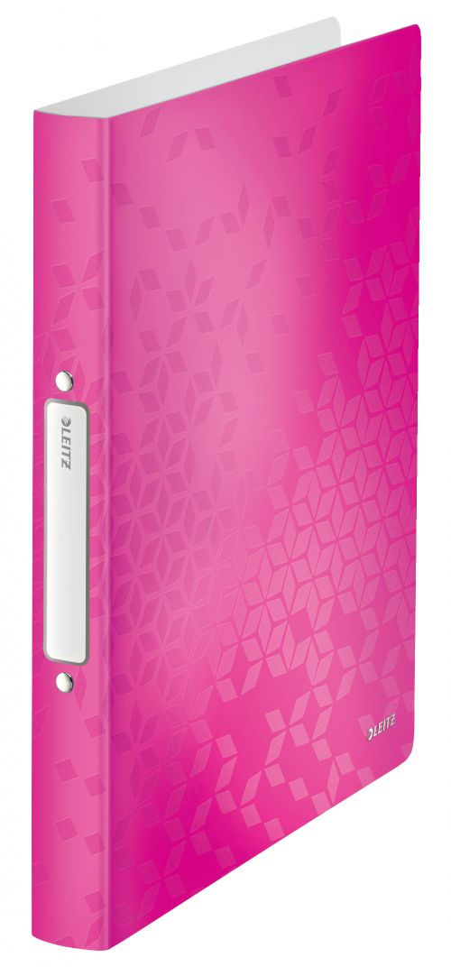 Leitz WOW Ring Binder Polypropylene 2 O-Ring A4 25mm Rings Pink Metallic (Pack 10)