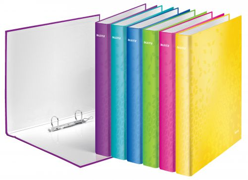 Leitz WOW Ringbinder A4+ Laminated 2 D-Ring 25mm Assorted - Outer carton of 10