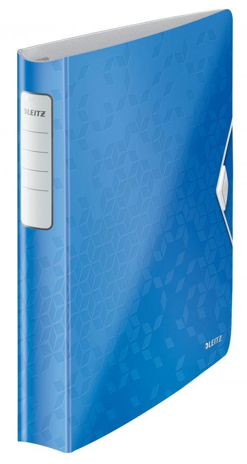 Leitz WOW Ringbinder A4 Polypropylene 4 D-Ring 30mm Blue Metallic - Outer carton of 5
