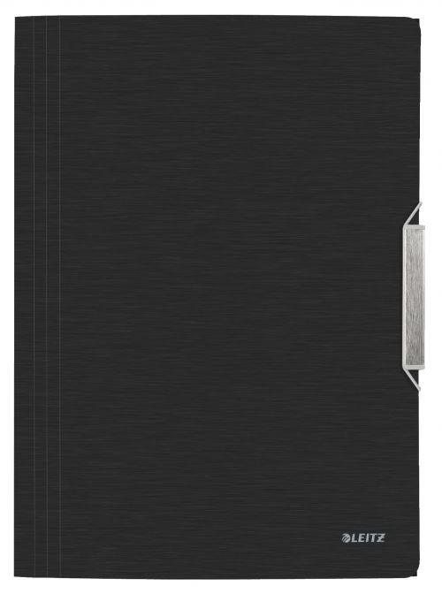 Leitz WOW 3 Flap Folder Polypropylene Style Satin Black - Outer carton of 10