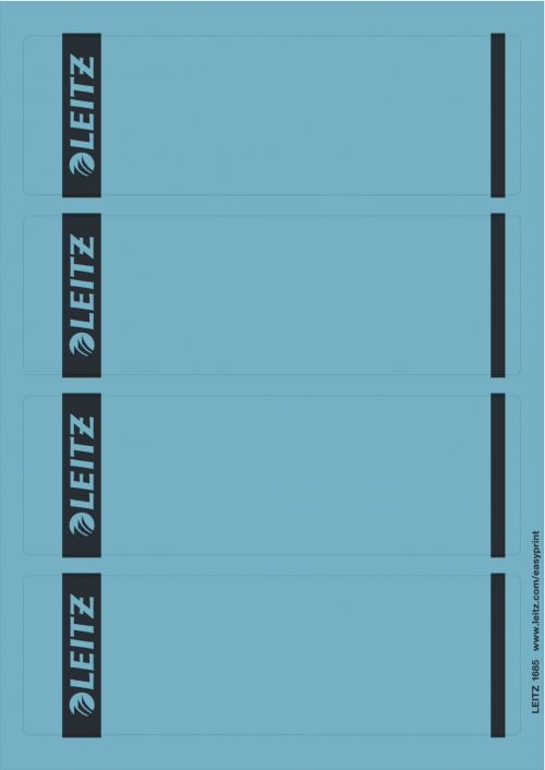 Leitz Printable Spine Labels for Standard Lever Arch Files - Blue (Pack of 100)