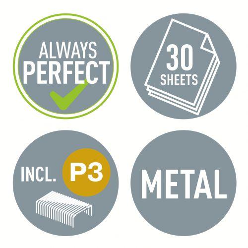 Leitz WOW Half Strip Stapler Metal 30 Sheet Pink 55021023  | County Office Supplies