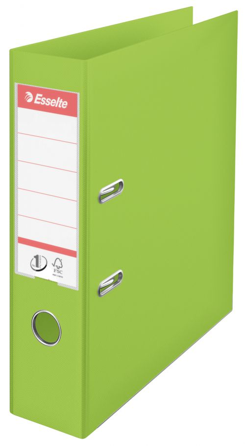 Esselte No.1 VIVIDA Lever Arch File Polypropylene A4 75mm Spine Width Green (Pack 10)