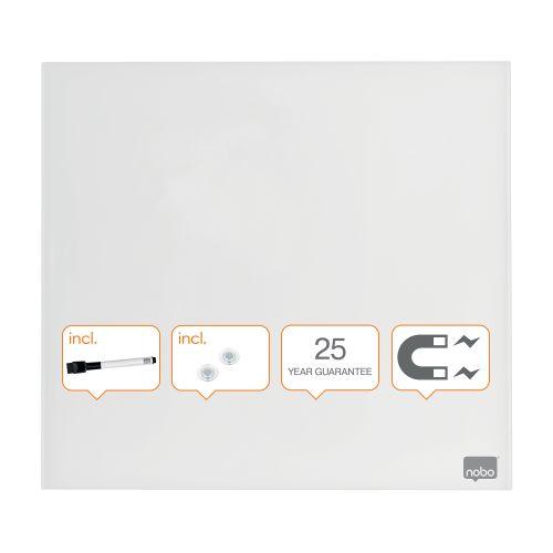 Nobo Magnetic Glass Whiteboard Tile 300x300mm White
