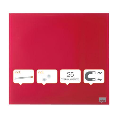 Nobo Magnetic Glass Whiteboard Tile 300x300mm Red