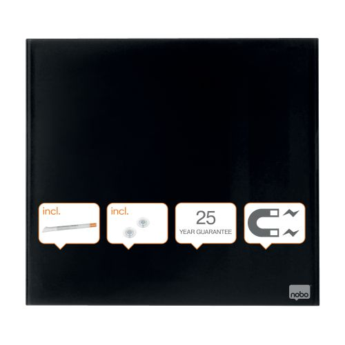 Nobo Diamond Drywipe Board Magnetic 450x450mm Black