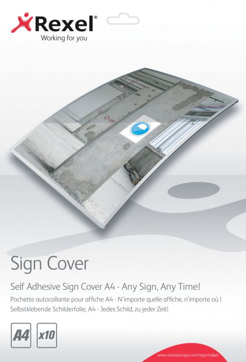 Rexel Self Adhesive Sign Covers A4 (Pack 10)