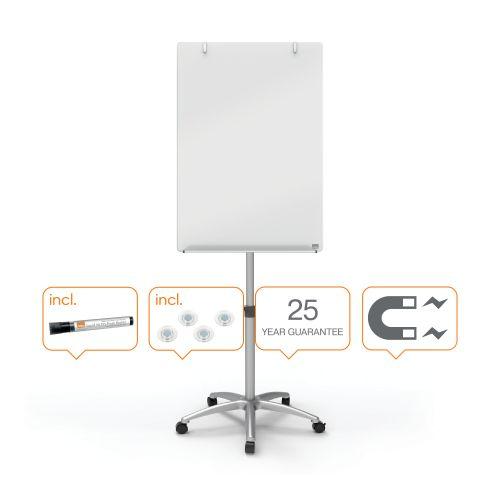Nobo Glass Mobile Flipchart Easel Magnetic 700x1000mm Silver