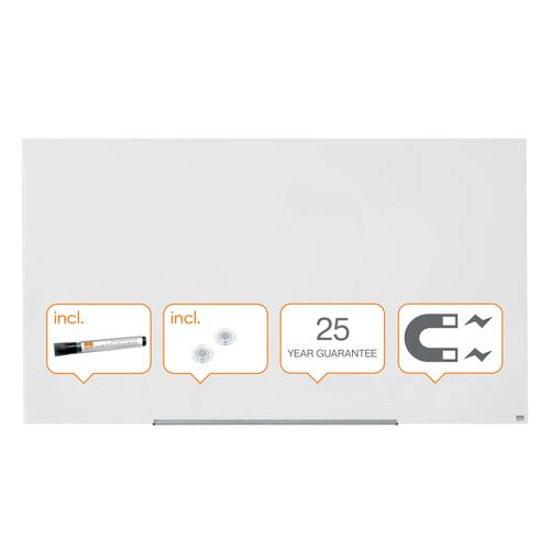 Nobo Diamond Magnetic Glassboard White 1883 x 1053mm