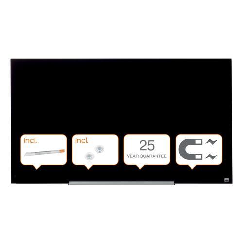 Nobo Diamond Glass Black 1260x711mm