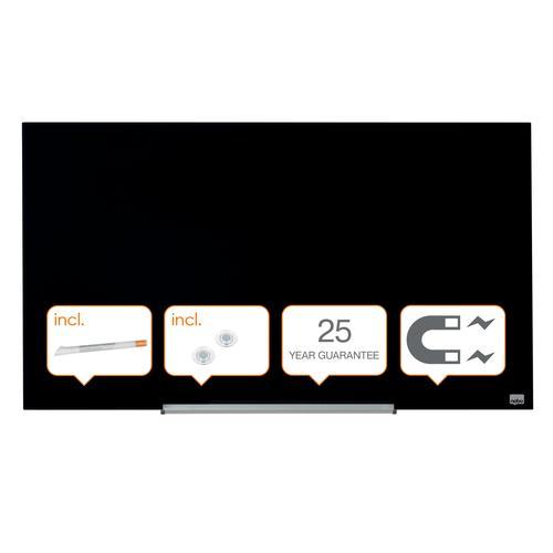 Nobo Diamond Glass Black 993x559mm