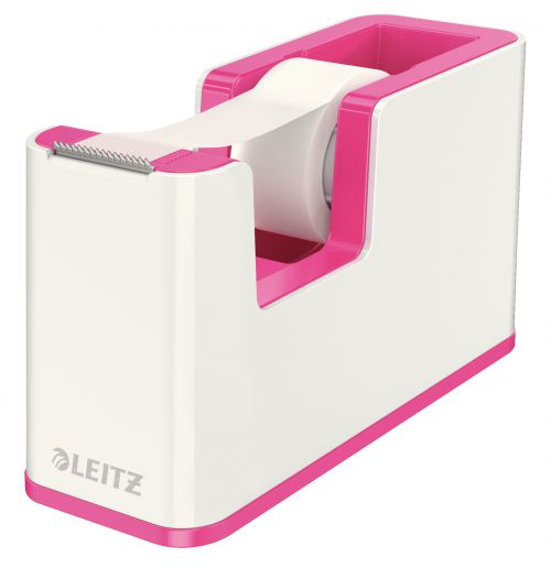 Leitz WOW Dual Colour Tape Dispenser for 19mm Tapes White/Pink 53641023