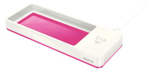 Leitz WOW Desk Organiser with Inductive Charger. White/pink.