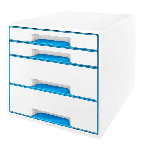Leitz WOW CUBE Drawer Cabinet, 4 drawers (2 big and 2 small). A4 Maxi. White/blue
