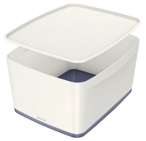 Leitz MyBox Large with lid, Storage Box 18 litre, W 318 x H 198 x D 385 mm. White/grey - Outer carton of 4