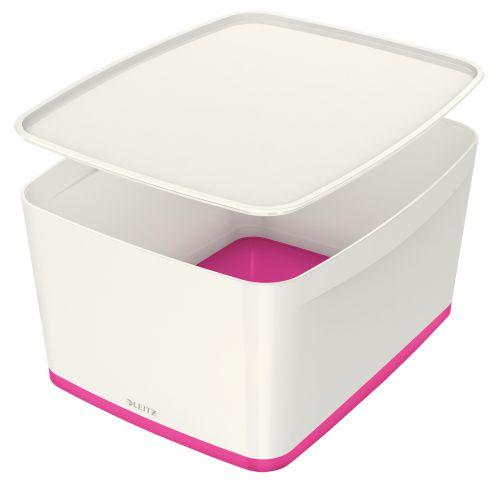 Leitz MyBox Storage Box with Lid Large White/Pink 52161023