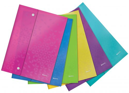 Leitz WOW A4 Document Wallet - Assorted Colours - Outer carton of 6