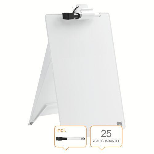 Nobo Glass Desktop Whiteboard Easel Brilliant White