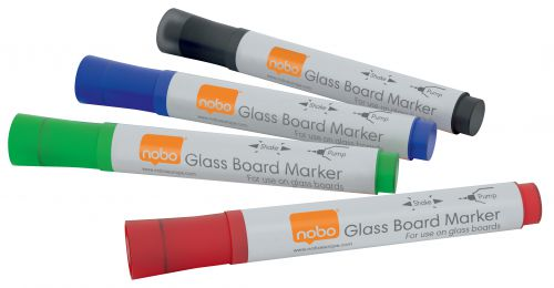 Nobo Glass Whiteboard Markers Assorted PK4