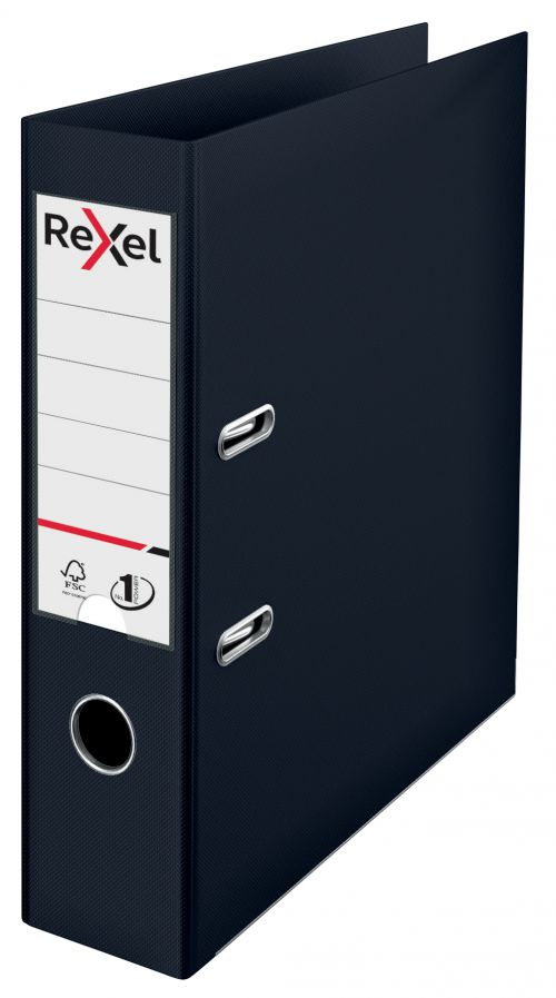 Rexel Choices Lever Arch File Polypropylene A4 75mm Spine Width Black (Pack 10)