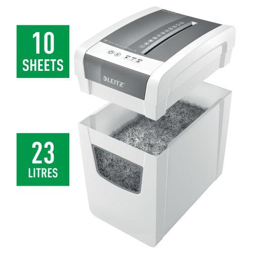 Leitz IQ Slim Home Office Cross Cut Shredder 23 Litre 10 Sheet White