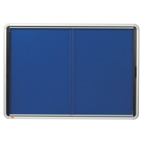Nobo Premium Plus Blue Felt Lockable Noticeboard Display Case 8 x A4 925x668mm