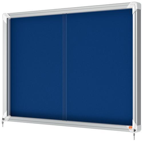 Nobo Premium Plus Felt Lockable Notice Board 8xA4 1902565 Glazed Notice Boards NB06380