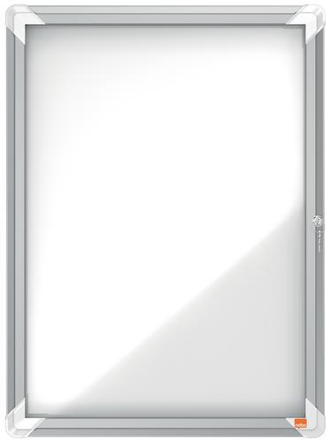 Nobo Premium Plus Outdoor Lockable Magnetic Whiteboard Display Case Aluminium Frame 4 x A4 White 494x668mm