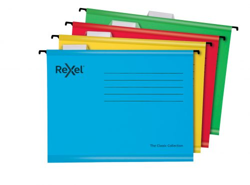 Rexel Classic A4 Reinforced Suspension Files for Filing Cabinets; 15mm V base; 100% Recycled Card; Assorted Colours; Pack of 10