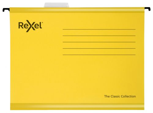 Rexel Classic A4 Suspension File Card 15mm V Base Yellow (Pack 25) 2115588