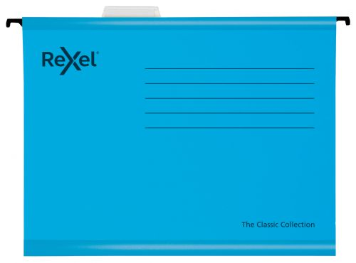 Rexel Classic Foolscap Reinforced Suspension Files for Filing Cabinets; 15mm V base; 100% Recycled Card; Blue; Pack of 25