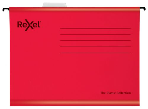 Rexel Classic Foolscap Reinforced Suspension Files for Filing Cabinets 15mm V base; 100% Recycled Card; Red; Pack of 25