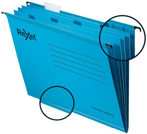 Rexel Classic A4 Reinforced Filing Cabinet Suspension Files with Dividers; 15mm V base; 100% Recycled Card; Blue; Pack of 10