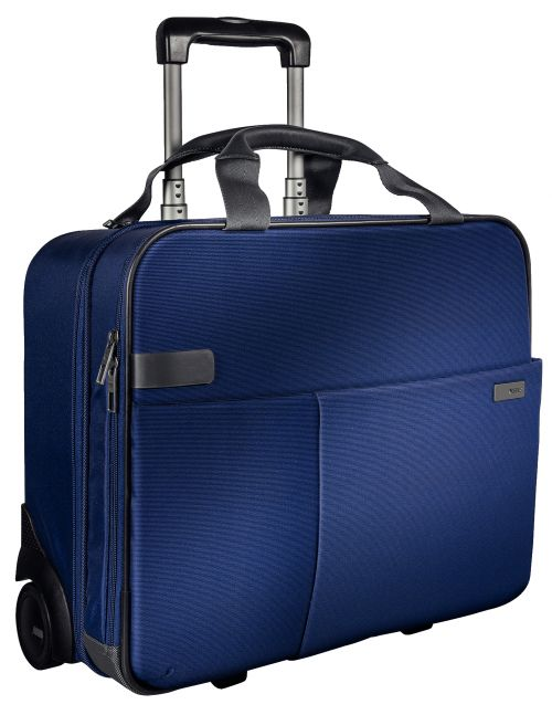"""Leitz Complete Carry-On Trolley Smart Traveller Cabin size for 15.6"""" laptop Titan Blue"""