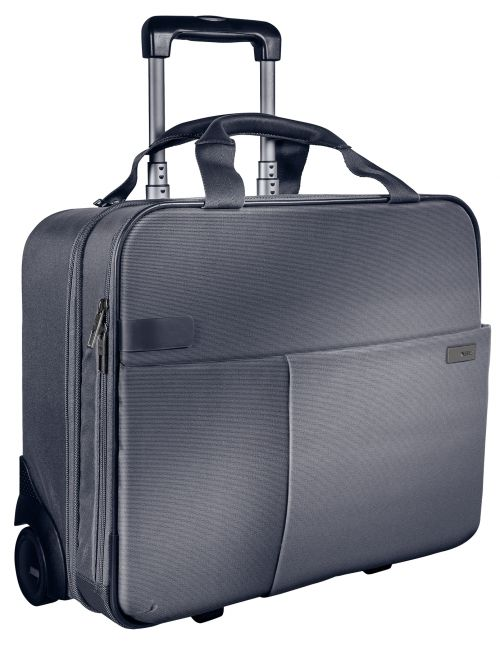 """Leitz Complete Carry-On Trolley Smart Traveller Cabin size for 15.6"""" laptop Silver"""