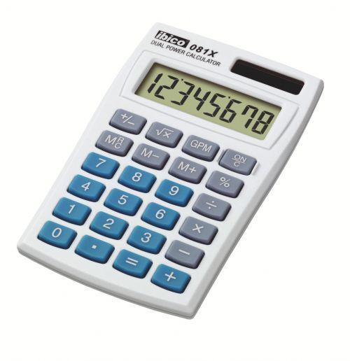 Ibico 081X Pocket Calculator White/ Blue