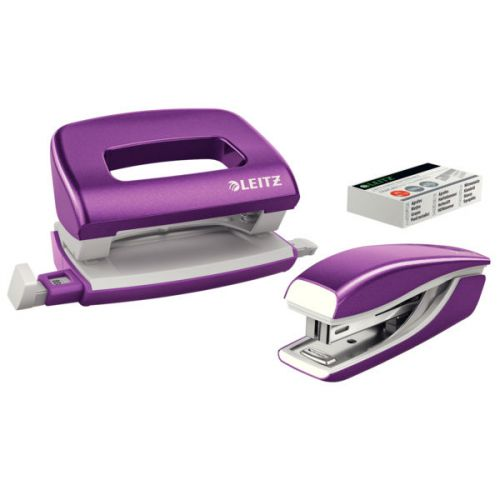 Leitz NeXXt WOW Mini Stapler and Hole Punch Set. 10 sheets. Handy mini version. Includes staples, in blister pack. Purple