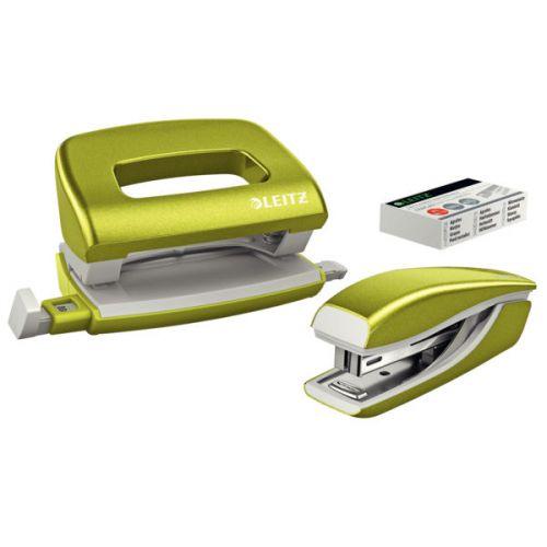 Leitz NeXXt WOW Set Stapler+ Punch Mini Blister Green Metallic