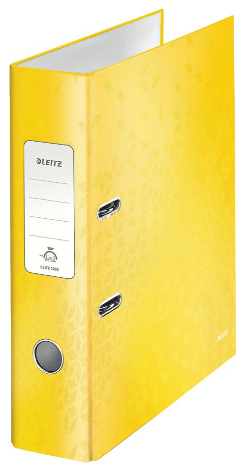 Leitz 180° WOW Laminated Lever Arch File. 80mm. A4. Yellow. - Outer carton of 10